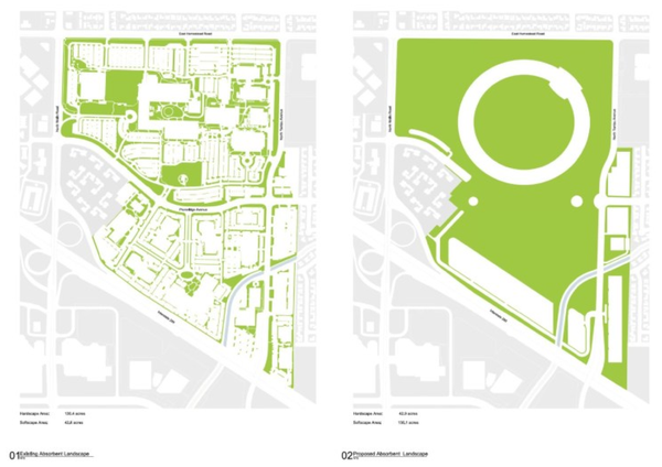 Current green space on Apple's campus vs proposed green space